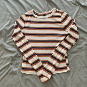 Windsor White Striped long sleeve Crop Top Size S